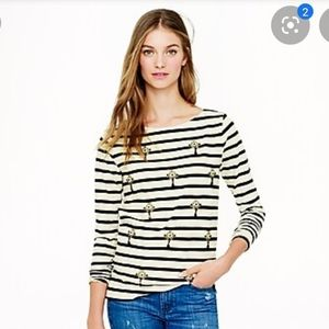 J. Crew Jeweled Stripe Top